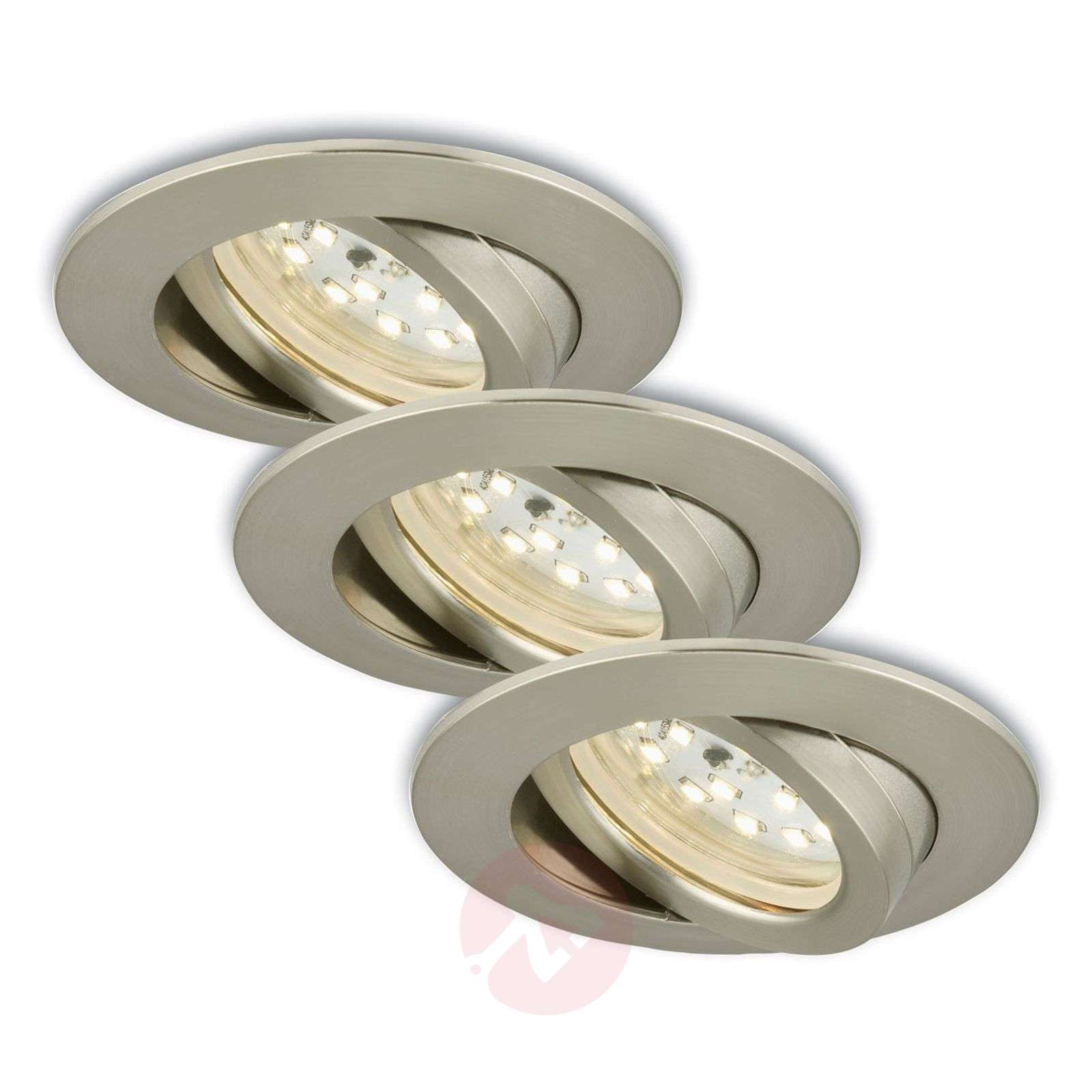 Foco LED empotrable girat., 3 unid., mate-níquel-1510288-01