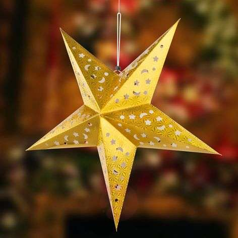 Estrella de papel X-Mas 3D con LED, color dorado-4015106-32