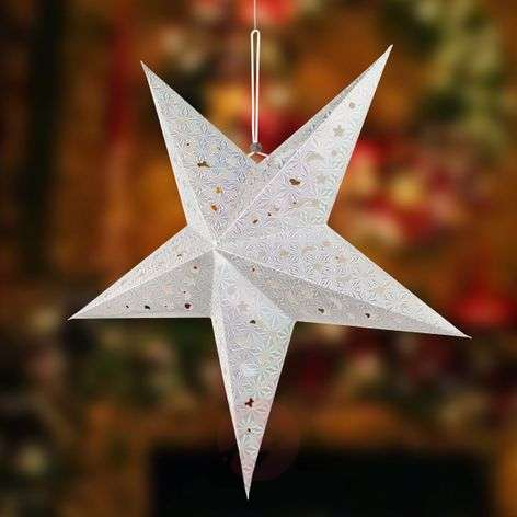 Estrella de papel X-Mas 3D con LED, color plata