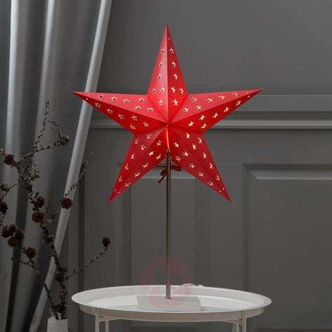 Estrella decorativa Leo en color rojo y blanco