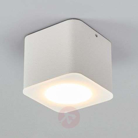 Foco LED de techo Oso angular, IP44, blanco mate