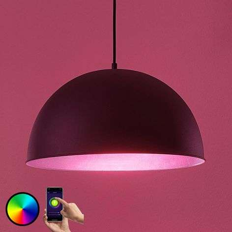 Lámpara colgante LED Bowl WiFi 41cm, negro