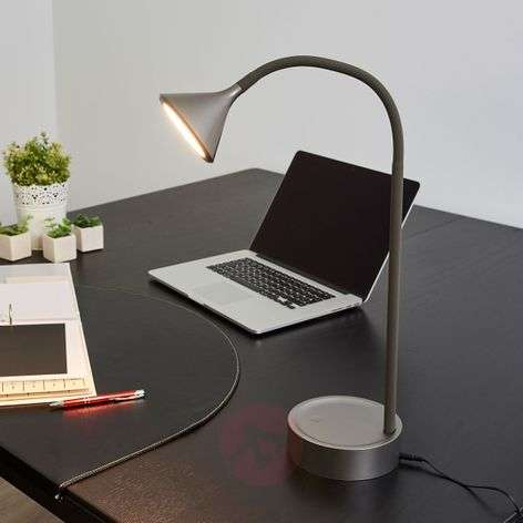 Lámpara de mesa LED Ellister orientable puerto USB
