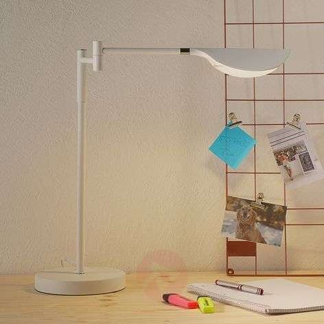 Lámpara de mesa LED Finnley, blanco mate