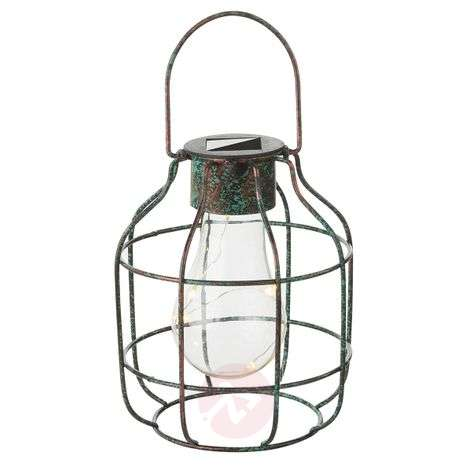 Lámpara LED solar decorativa Cage, look Vintage-4015028-31