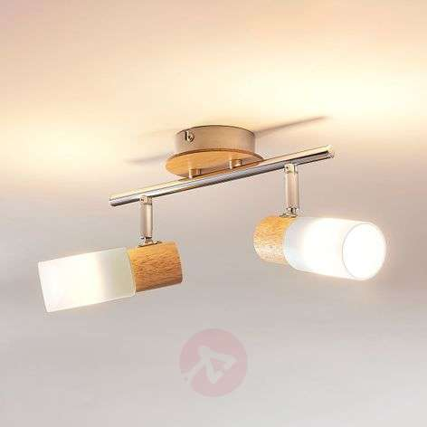 Proyector LED Christoph de 2 brazos, con madera