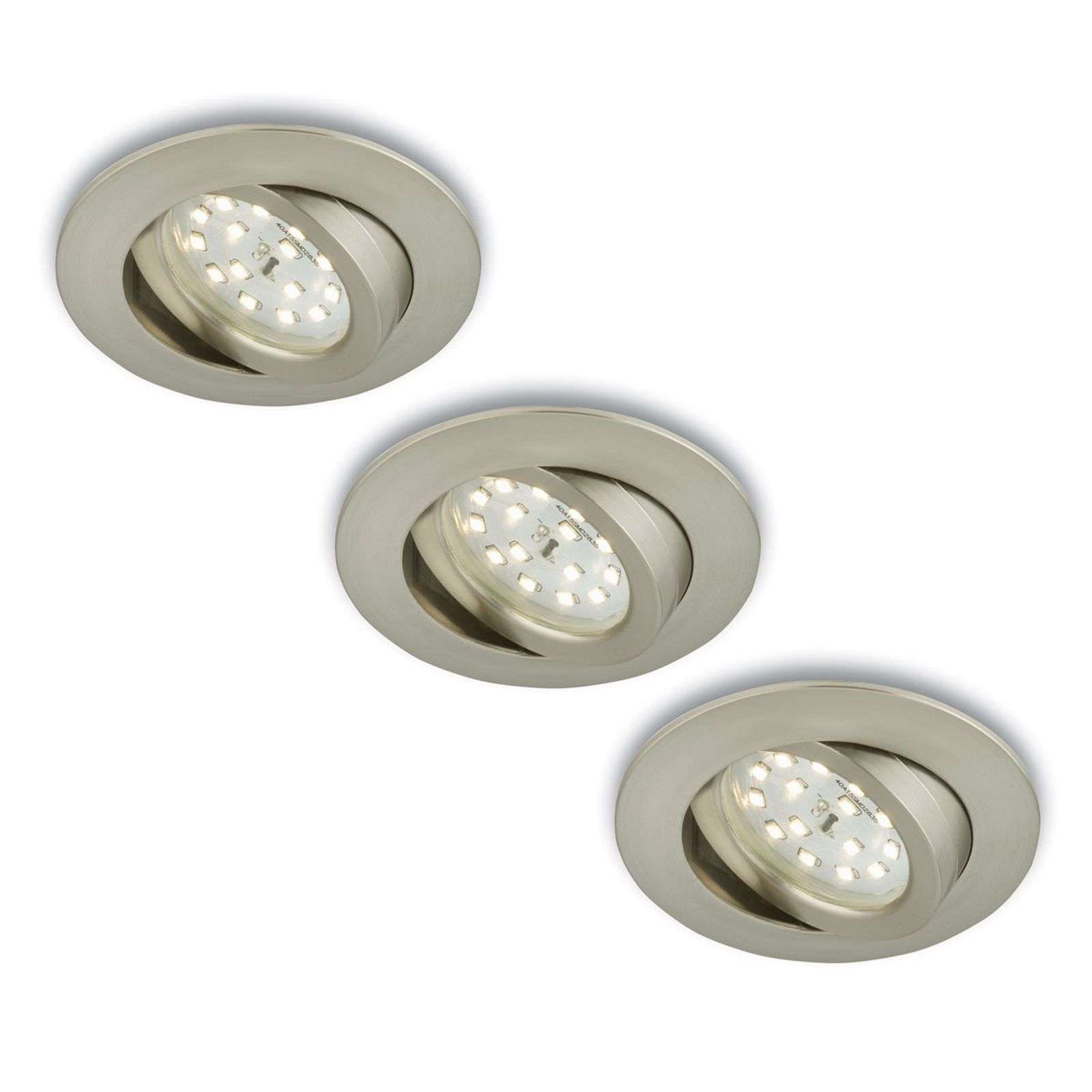 Foco LED empotrable girat., 3 unid., mate-níquel
