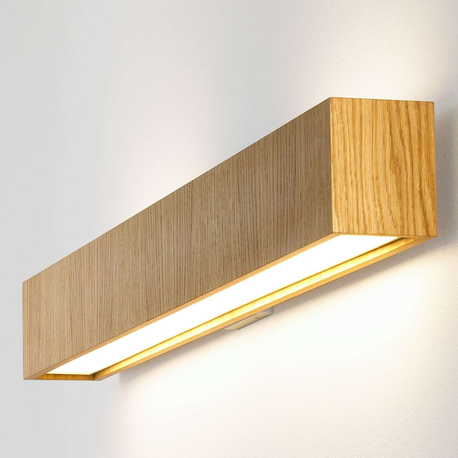 Lámpara de pared LED Quadrat W alargada, roble