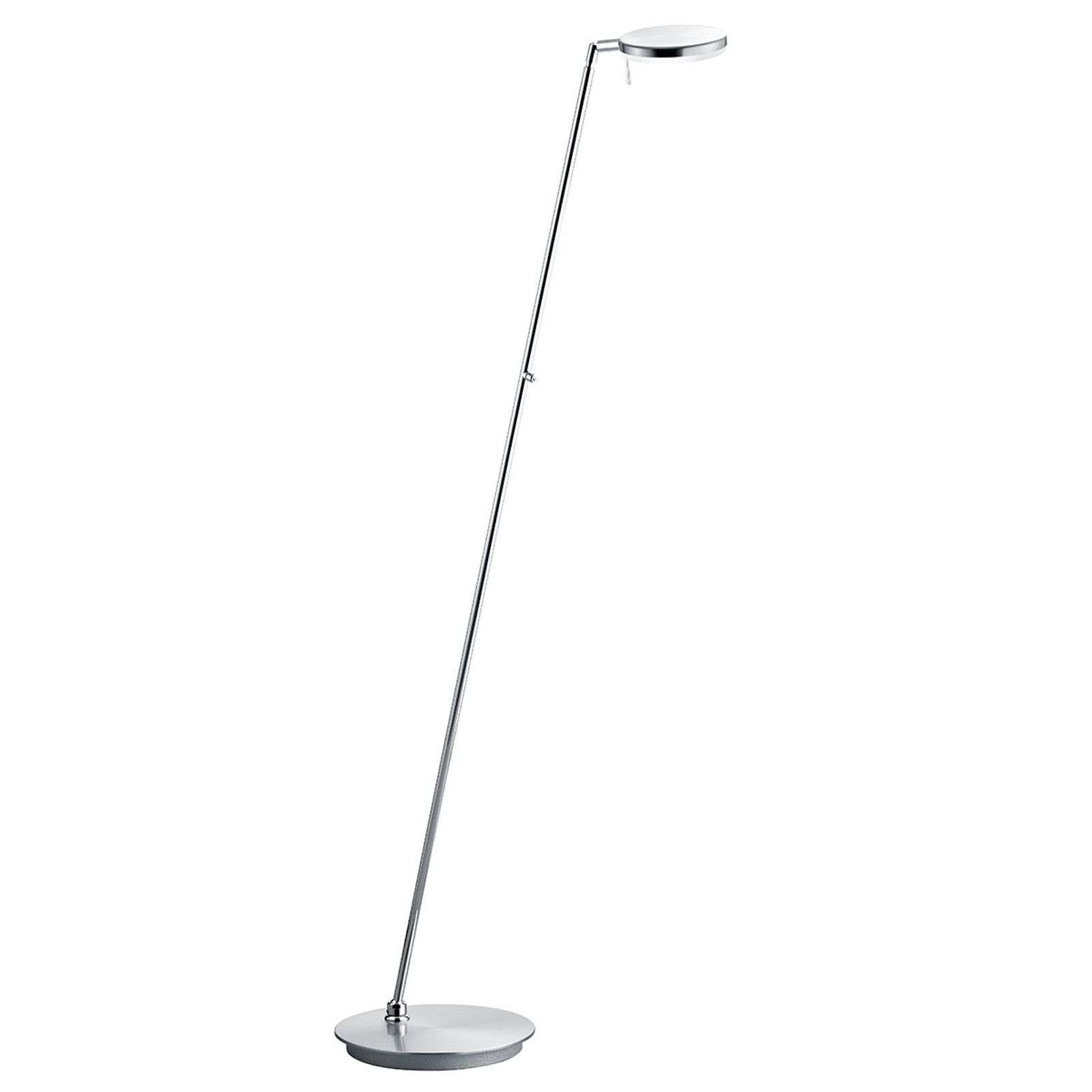 Lámpara de pie LED Omega orientable, níquel