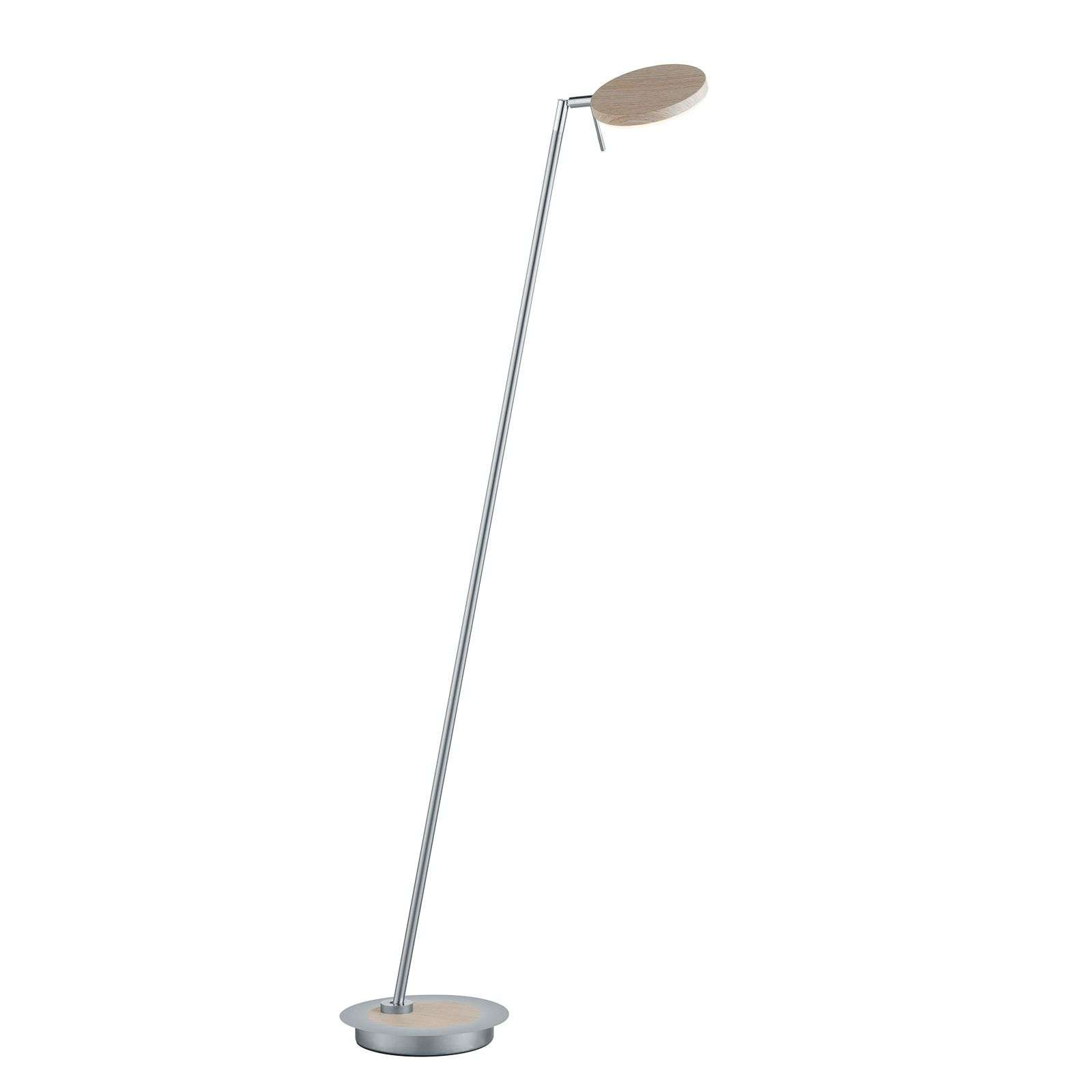 Lámpara de pie LED Omega orientable, madera