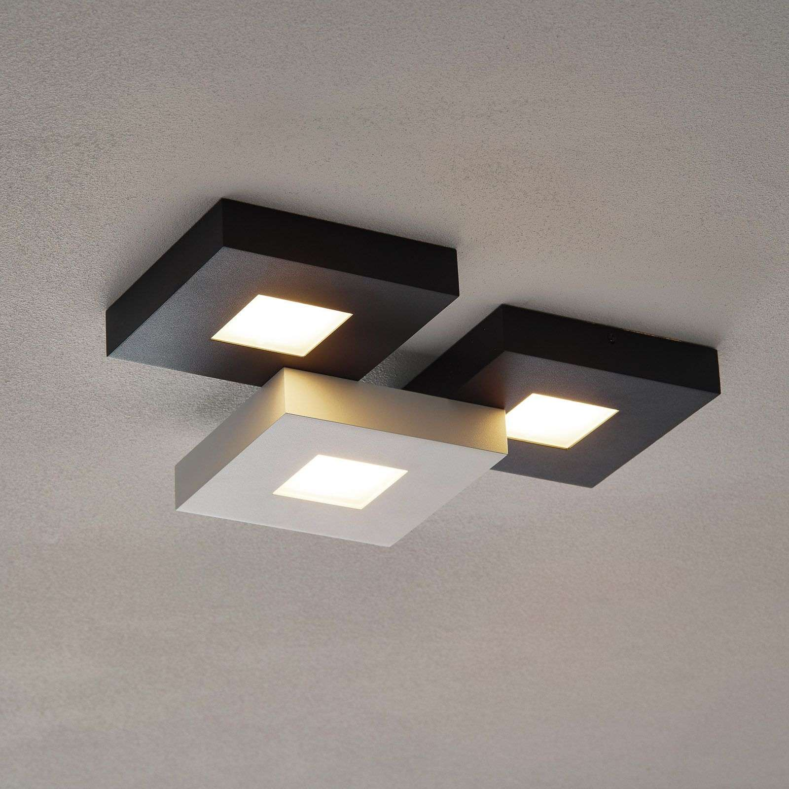 Lámpara de techo LED Cubus, 3 luces, blanco-negro