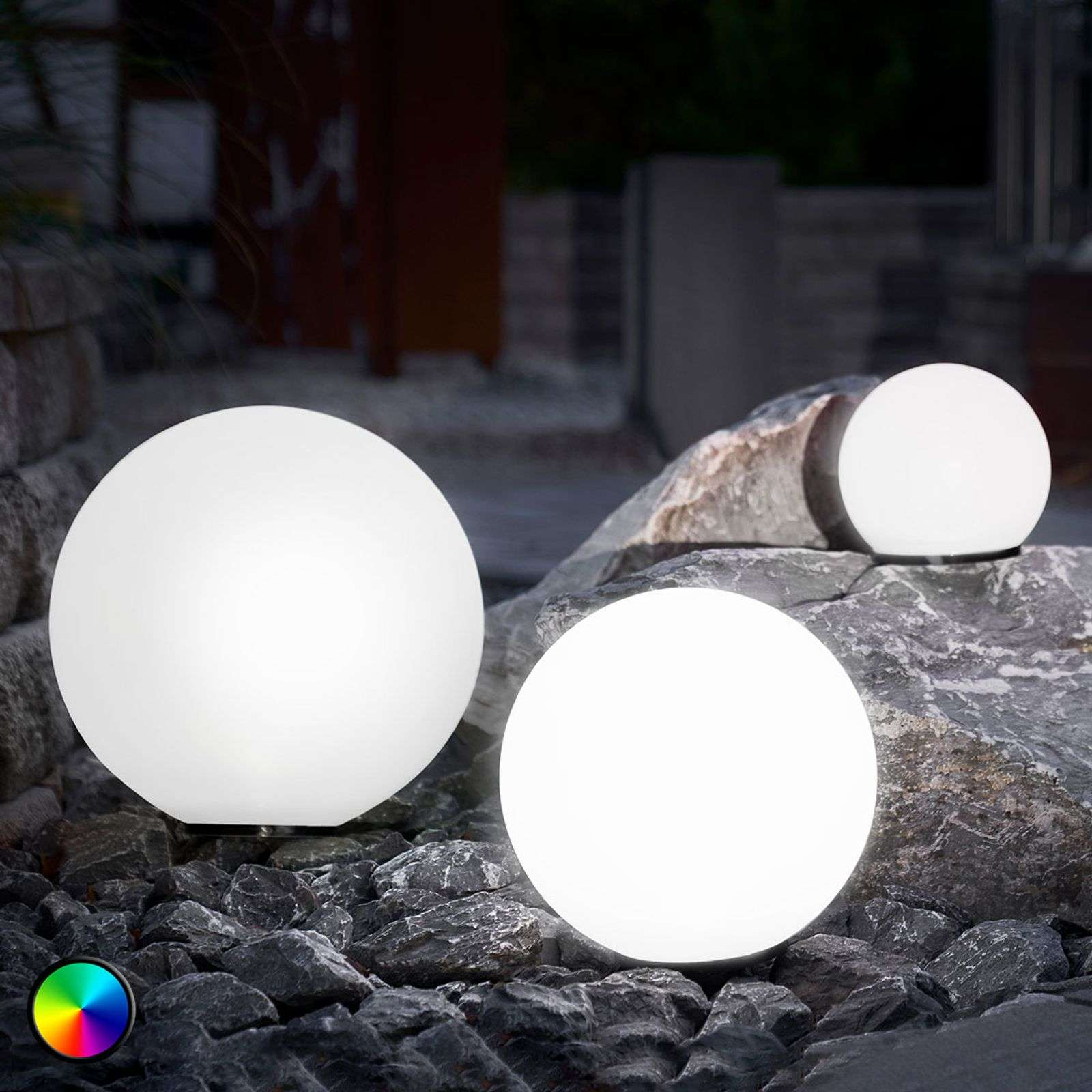 Esfera LED solar set 3 u., función cambio de color