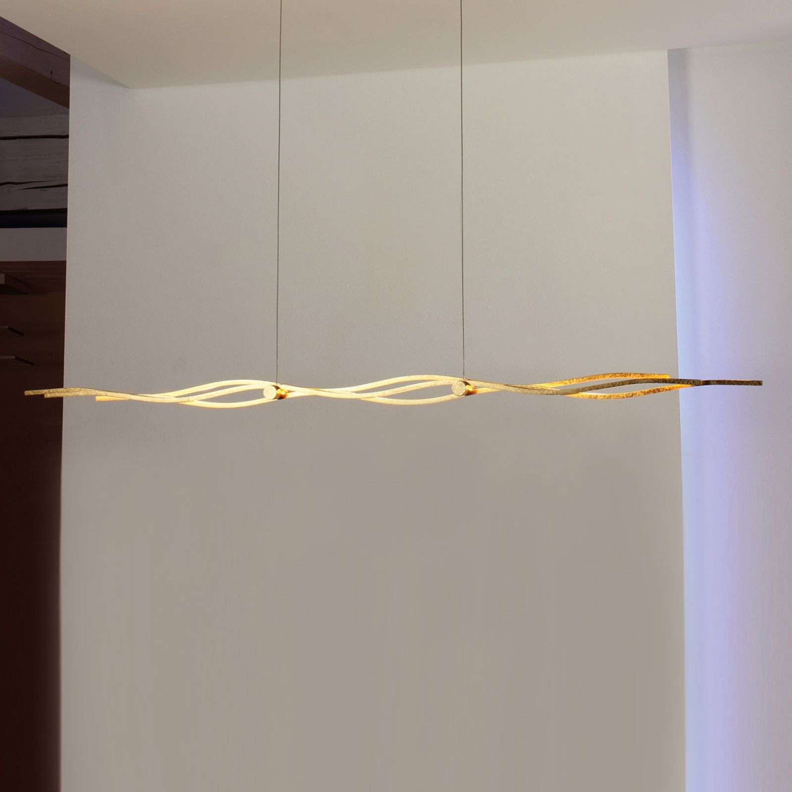 Escale Silk - lámpara colgante LED, pan oro 157cm