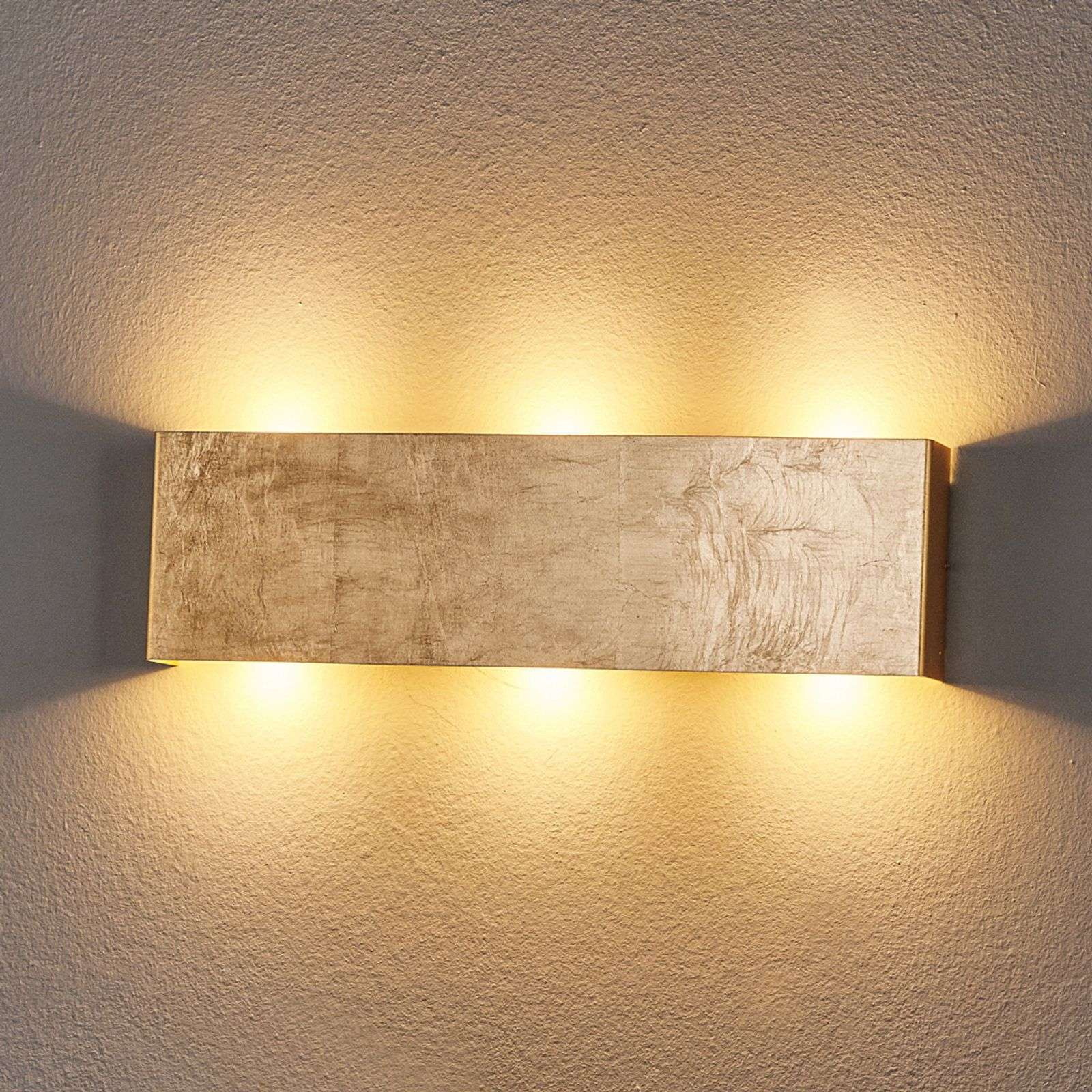 Lámpara LED de pared Maja atenuable, oro envejec.
