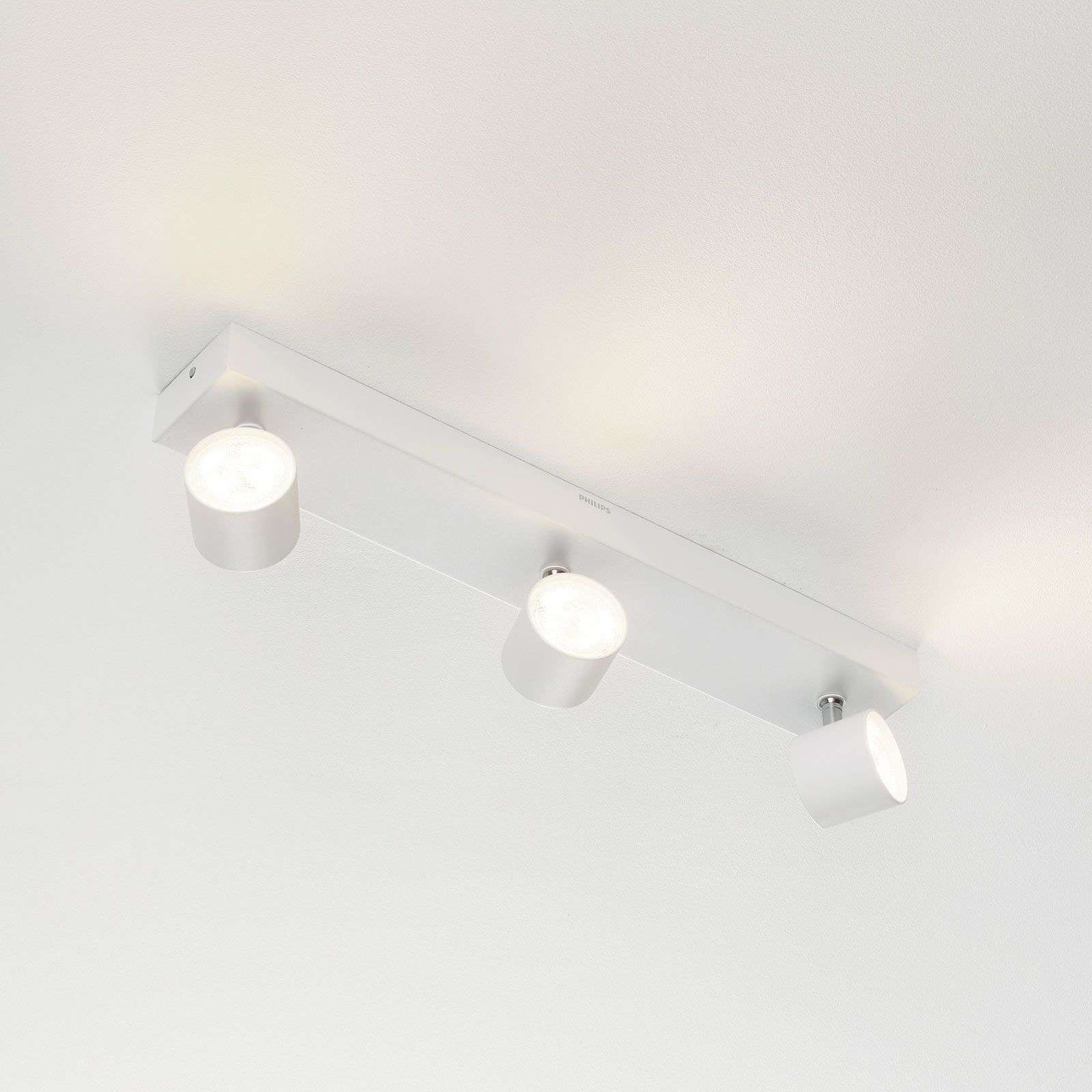 Foco LED Star 3 brazos, warmglow, blanco