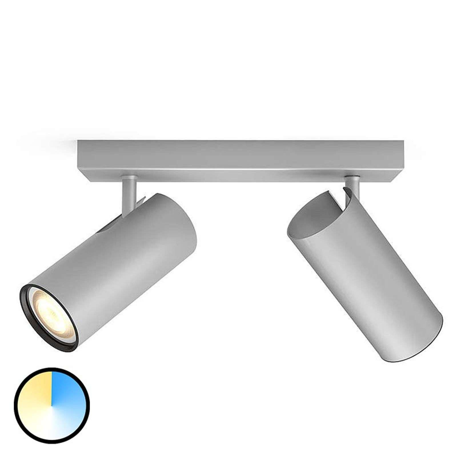 Foco LED aluminio Philips Hue Buratto 2 brazos