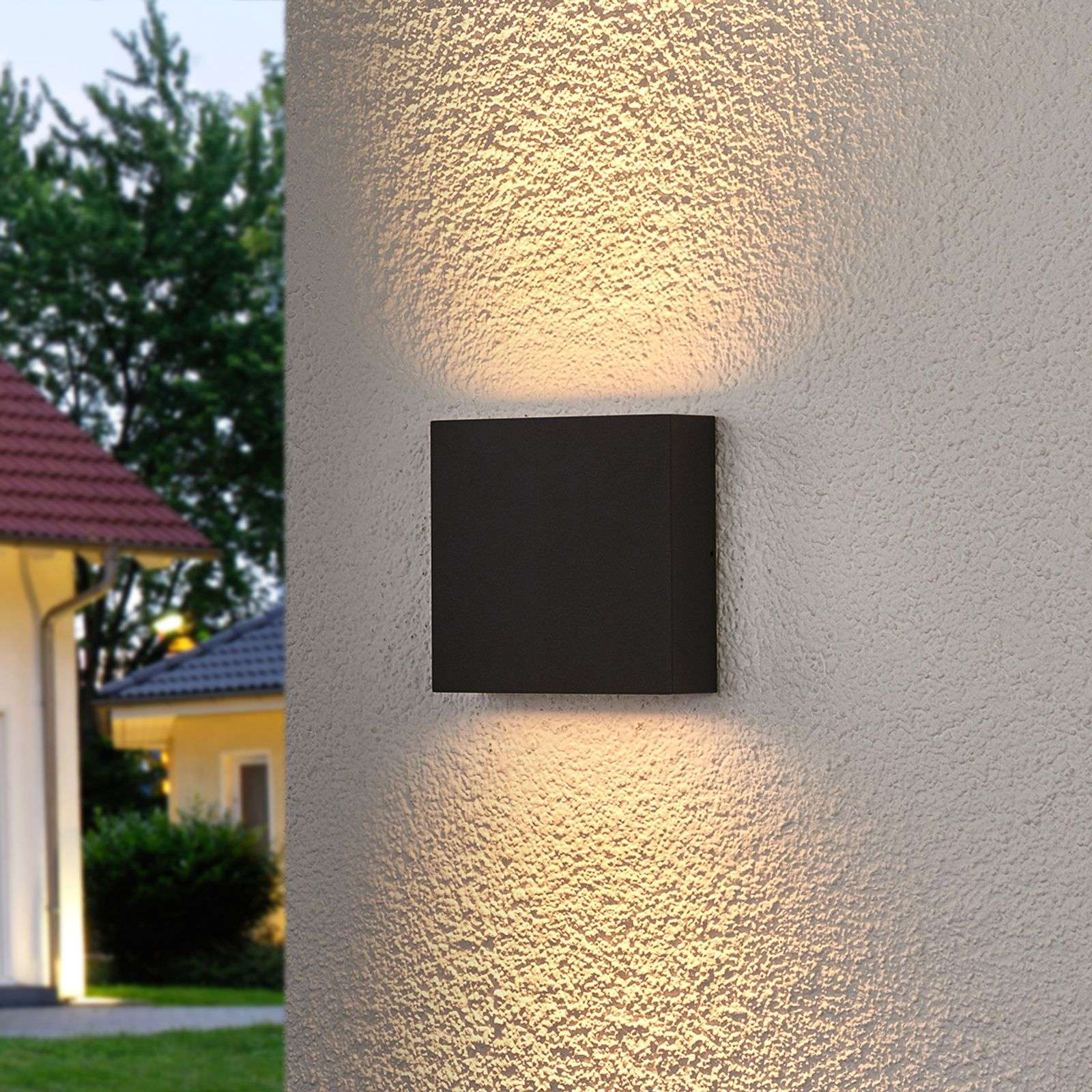 Aplique LED exteriores Trixy rectang. gris grafito