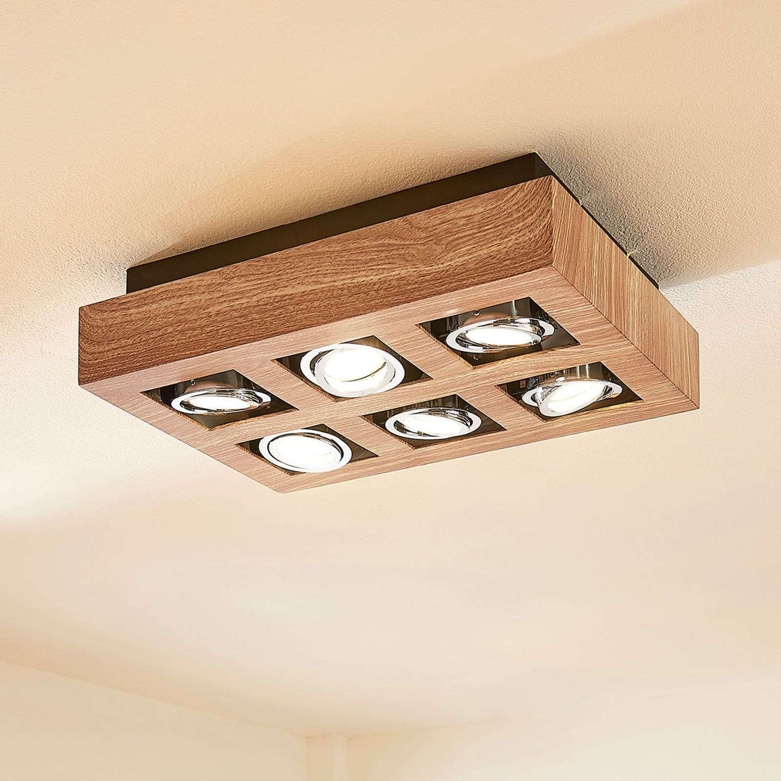 Plafón LED Vince color madera, 6 brazos