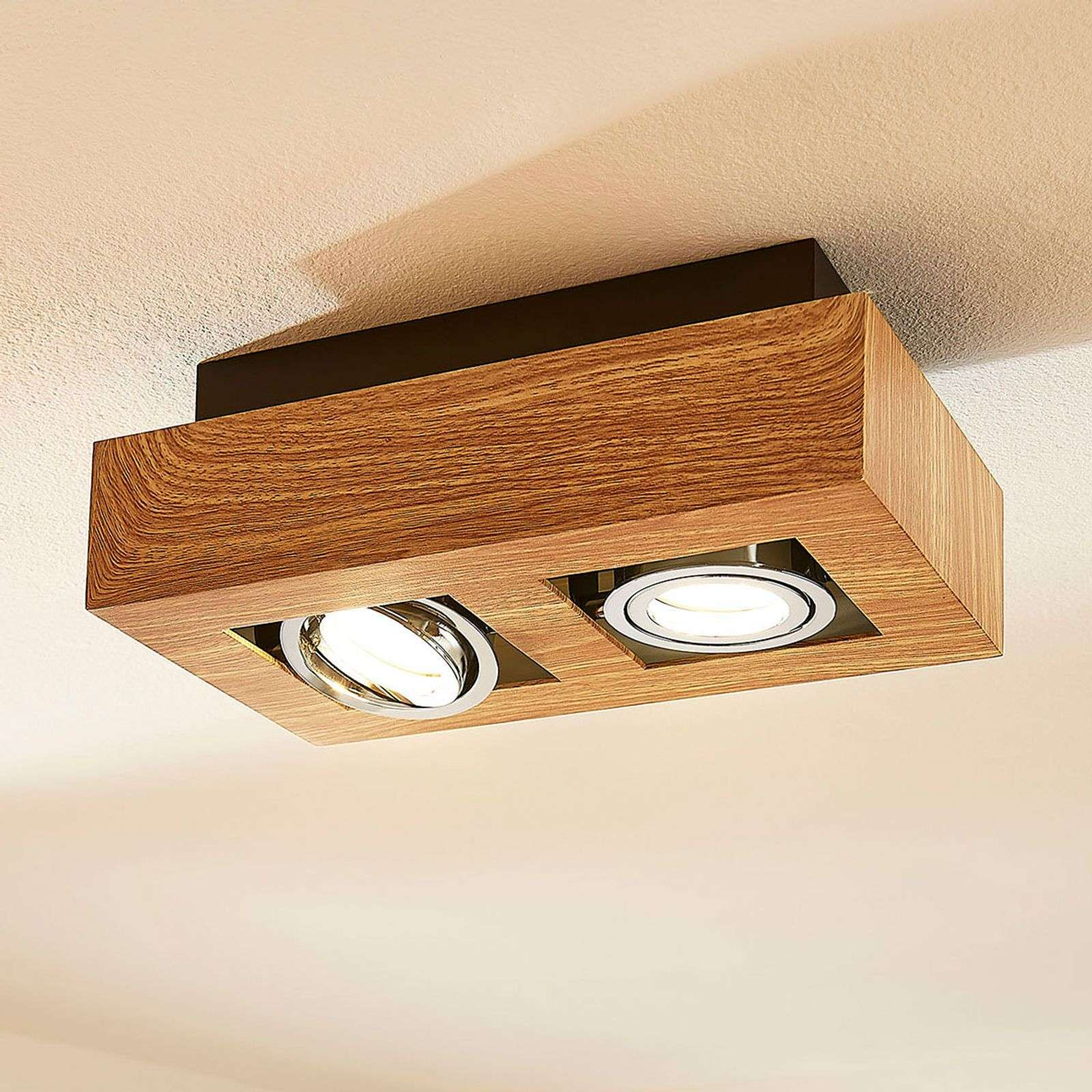 Foco LED Vince 2 brazos, color madera