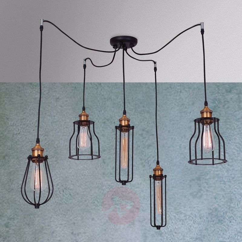 Image of 5-light hanging light Ustiko with rustic charm