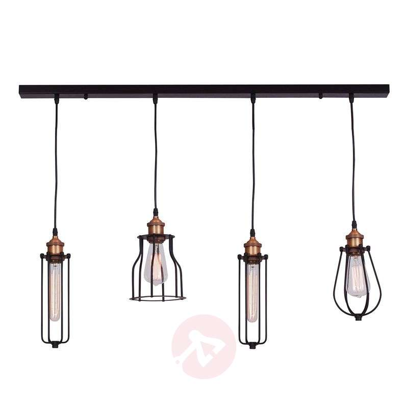 Image of Four-bulb Ustiko hanging light - rustic style
