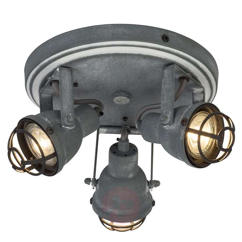 Image of 3-bulb industrial LED ceiling lamp Bente
