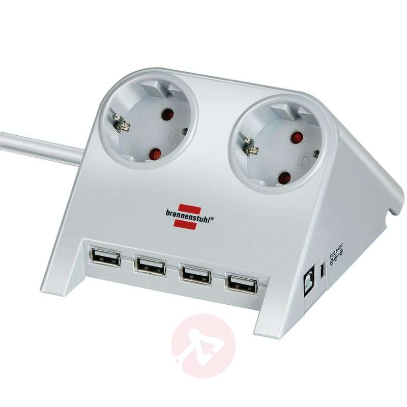 Image of Desktop power extension lead with USB, white