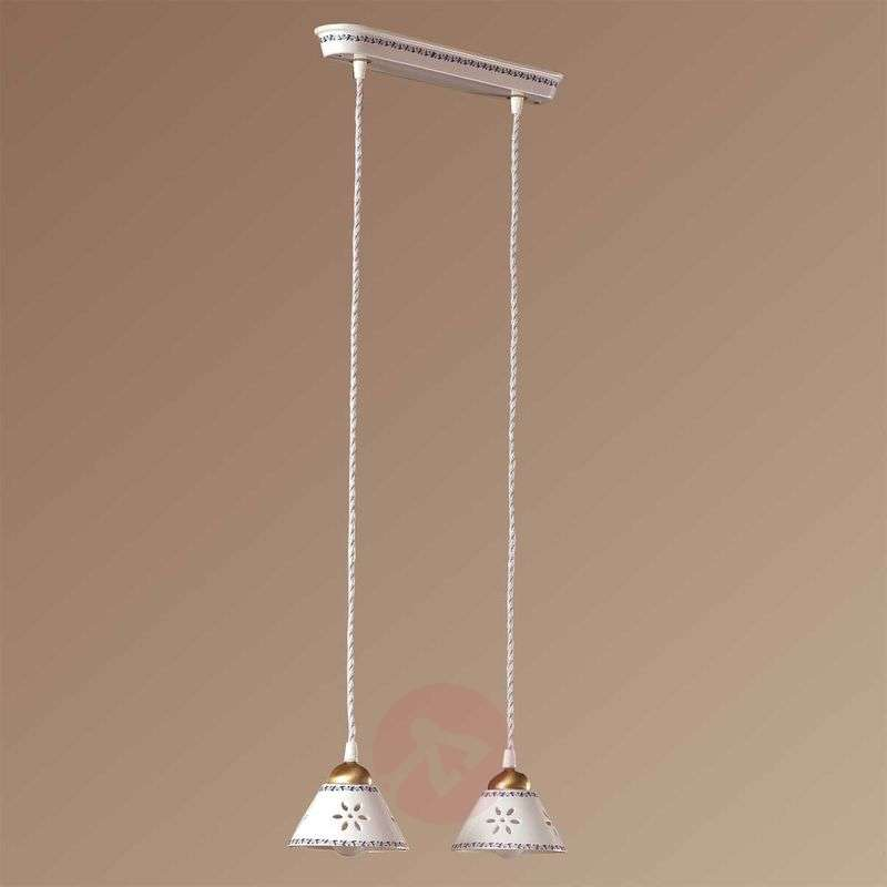 Image of 2-bulb NONNA hanging light, made of white ceramic