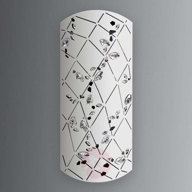 White wall lamp Apta with crystals, 37 cm